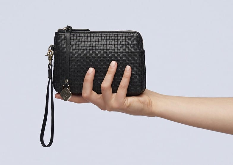 The She Lion 'Everyday Pouch' comes in croc embossed blue, woven black or soft butter beige.