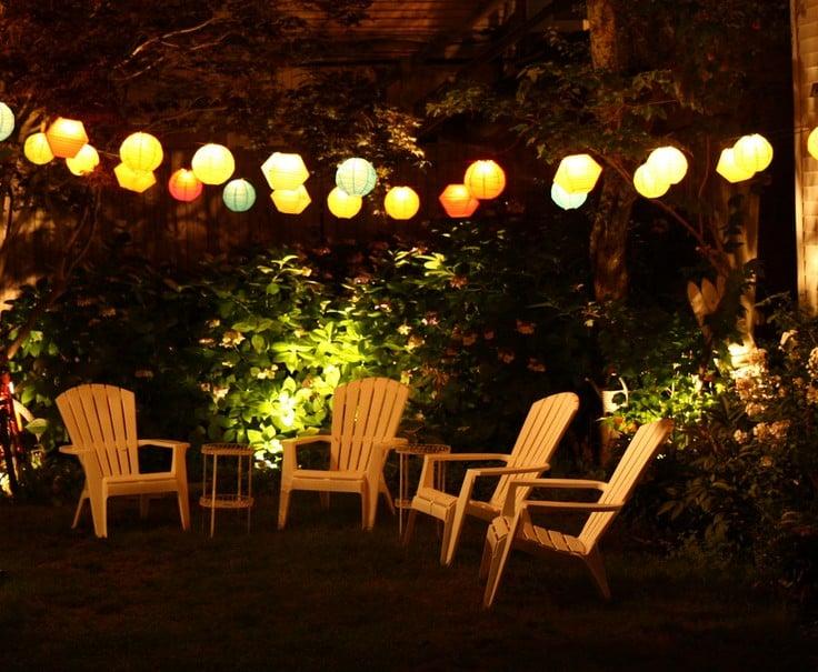 summer autumn transition lanterns in trees