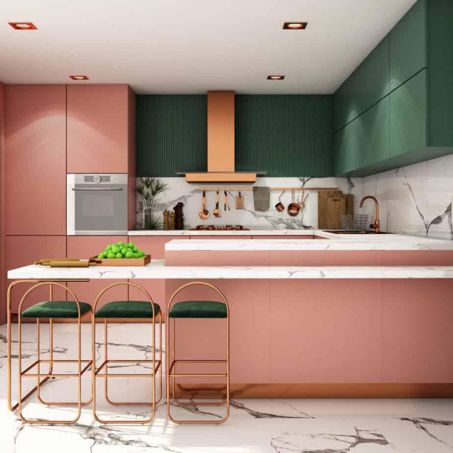 kitchen interior design in modern style,3d rendering