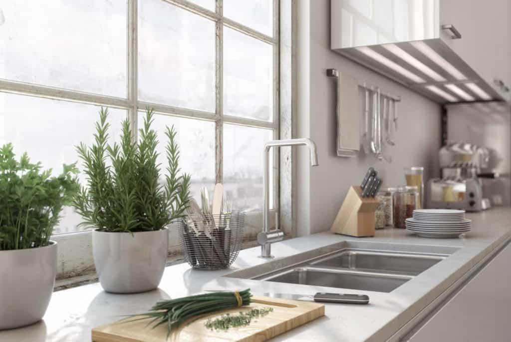 Detailed shot of kitchen area inside a modern loft.