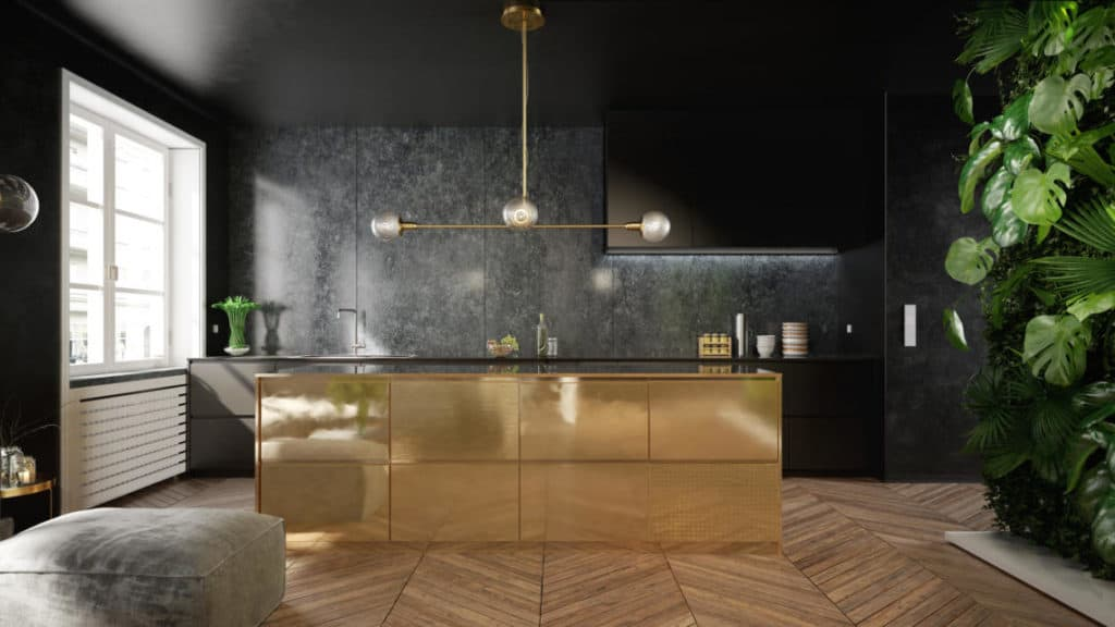 Stylish black and gold kitchen interior