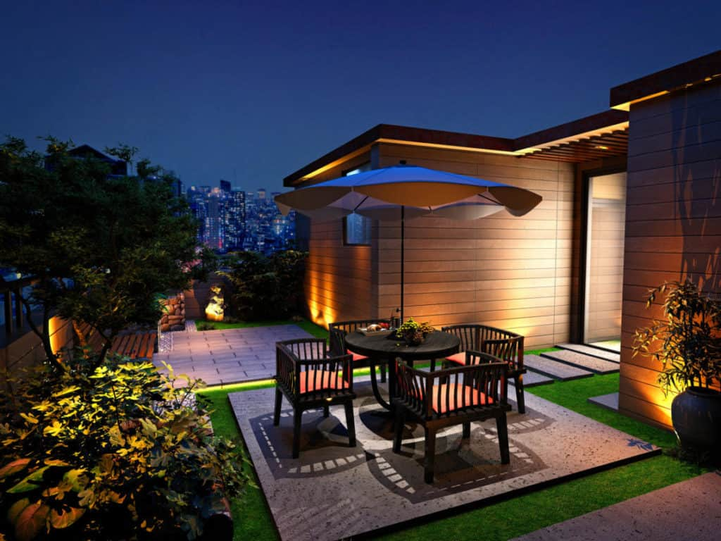 3d render house balcony terrace at night