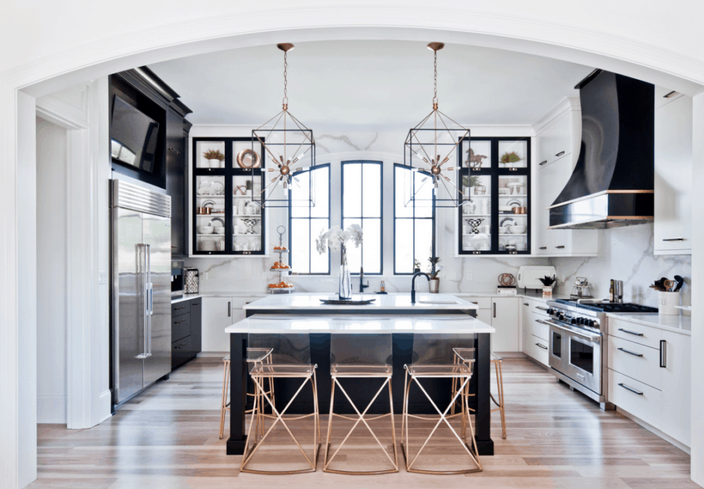 stunning black, white and gold kitchen with high ceilings